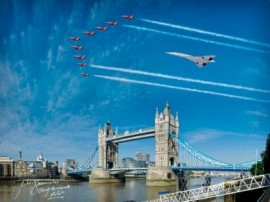 Concorde and Red Arrows over Tower Bridge - 20x16