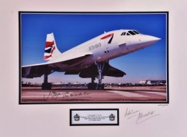 Concorde Ready for take off Heathrow 18x12 Signed Photograph Mounted