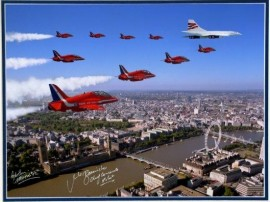 Concorde  Red Arrows Queens Jubilee Signed 16x12