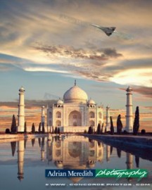 Concorde G-BOAF Flying over Taj Mahal India - 12x10