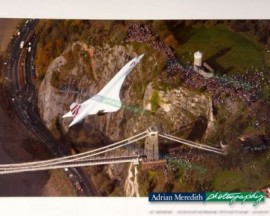Concorde over Clifton Suspension Bridge, Bristol - 16x12