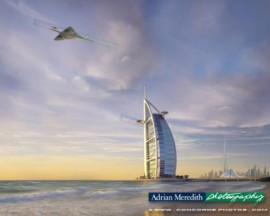 Concorde G-BOAG Flying over Burj Al Arab Hotel Dubai - 16x12