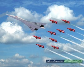 Concorde G-BOAD and The Red Arrows - 20x16