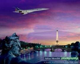 Air France Concorde over Paris France 1985 - 20x16
