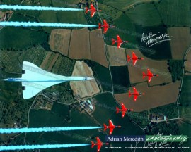 Concorde and The Red Arrows over the British Isles - Signed 16x12