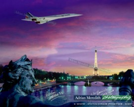 Air France Concorde over Paris France 1985 - Signed 16x12