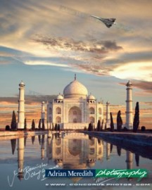 Concorde G-BOAF Flying over Taj Mahal India - Signed 16x12