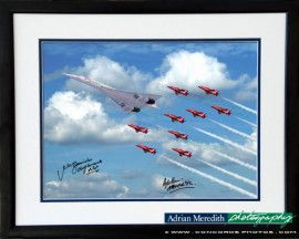 Concorde G-BOAD and The Red Arrows - Fly Past for The Queens Jubilee Celebrations 4th June 2002. Framed and Signed 16x12