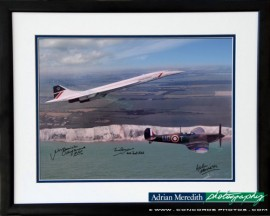 Concorde and Battle of Britain Spitfire - Framed and Signed 16x12