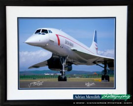Concorde at Prestwick Ready for Take Off - Framed and Signed 16x12