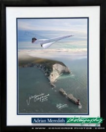 Concorde G-BOAG Flying over the Needles Isle of Wight England 1986 - Framed and Signed 16x12