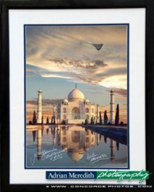 Concorde G-BOAF Flying over Taj Mahal India - Framed and Signed 16x12