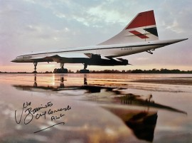 Concorde G-BBDG on the ground Fairford 1975 now at Brooklands Museum Surrey ...16x12 Signed by Captain Mike Bannister and Photographer Adrian Meredith