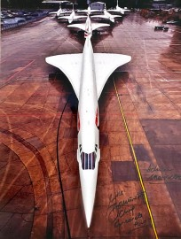 7 Concordes on the ground at BA Base LHR 2002 ..16x12 Signed by Captain Mike Bannister and Photographer Adrian Meredith