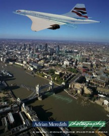 Concorde Over London 1998 in Chatham Union Jack Livery - 12x10