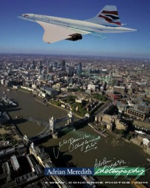Concorde Over London 1998 in Chatham Union Jack Livery - Signed 16x12